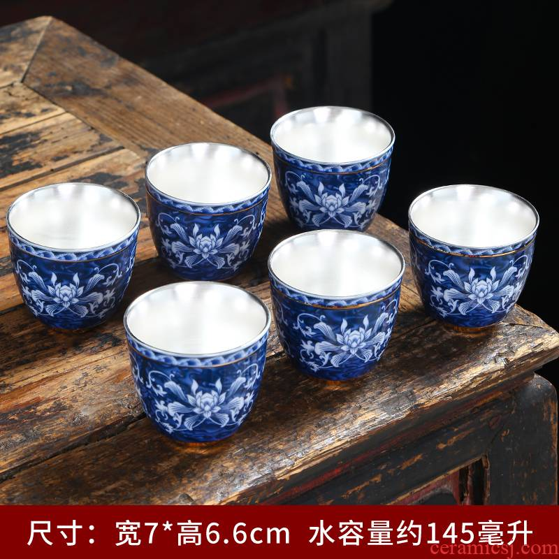 Blue and white porcelain ceramic cups kung fu noggin single CPU master cup tea sets tea bowl paint sample tea cup