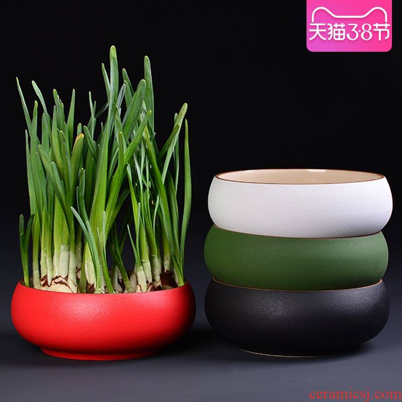 Red refers to flower pot coarse some ceramic porcelain large indoor nonporous bowl lotus grass cooper hydroponic plant pot container