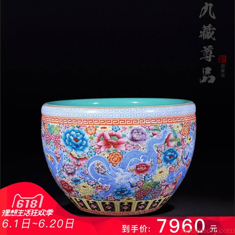 """Antique hand - made jingdezhen ceramics powder enamel vase """"dragon on the peony flower is cylinder 】 home furnishing articles in the living room"""