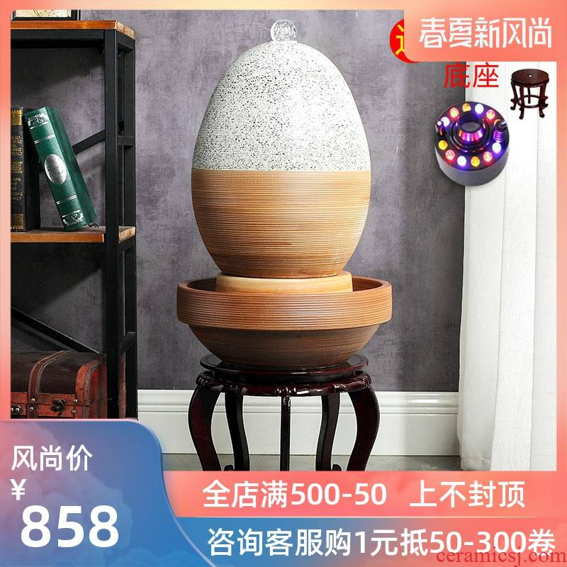 Jingdezhen to live in a small sitting room aquarium furnishing articles ceramic water fountain creative humidifying water tank