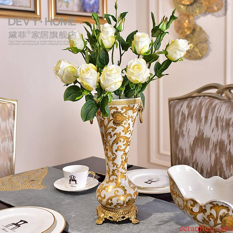 American ceramic dry flower arranging flowers, vases, the sitting room porch TV cabinet table decorations furnishing articles version into tea table