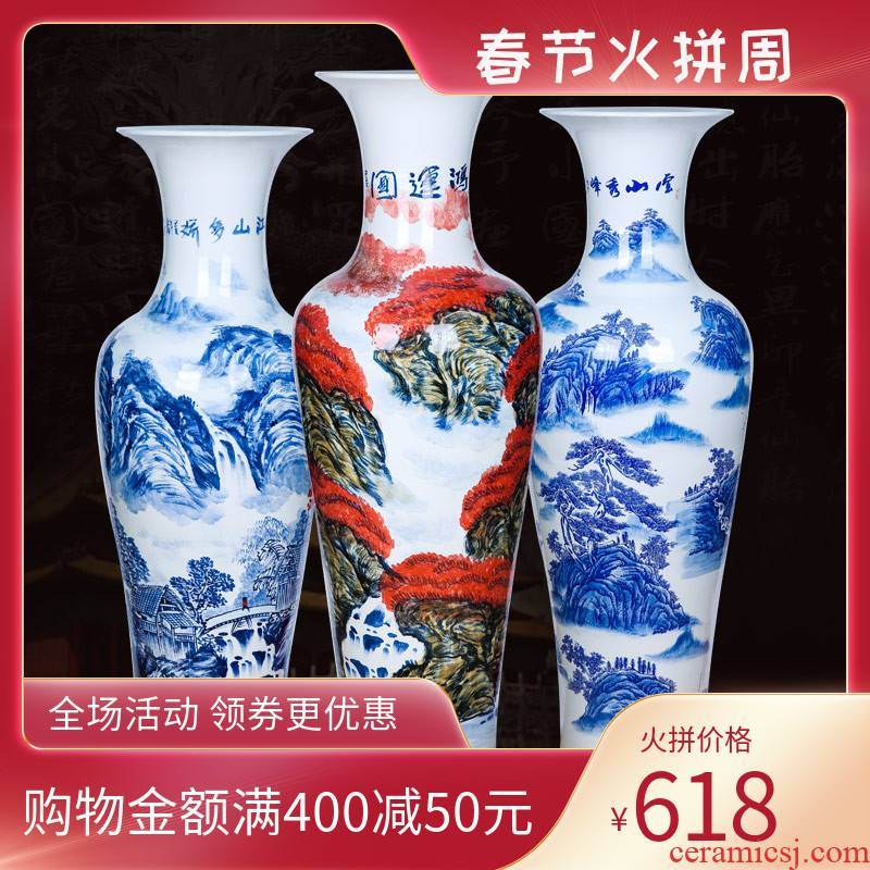 Jingdezhen ceramics hand - made large blue and white porcelain vase Chinese style hotel to heavy sitting room adornment furnishing articles for the opening