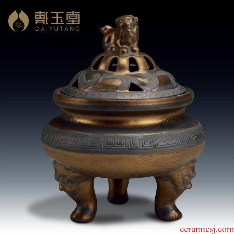 Yutang dai rust ceramic glaze imitation bronze incense buner tripods aroma stove/ancient smoked incense buner, three optional D83-63