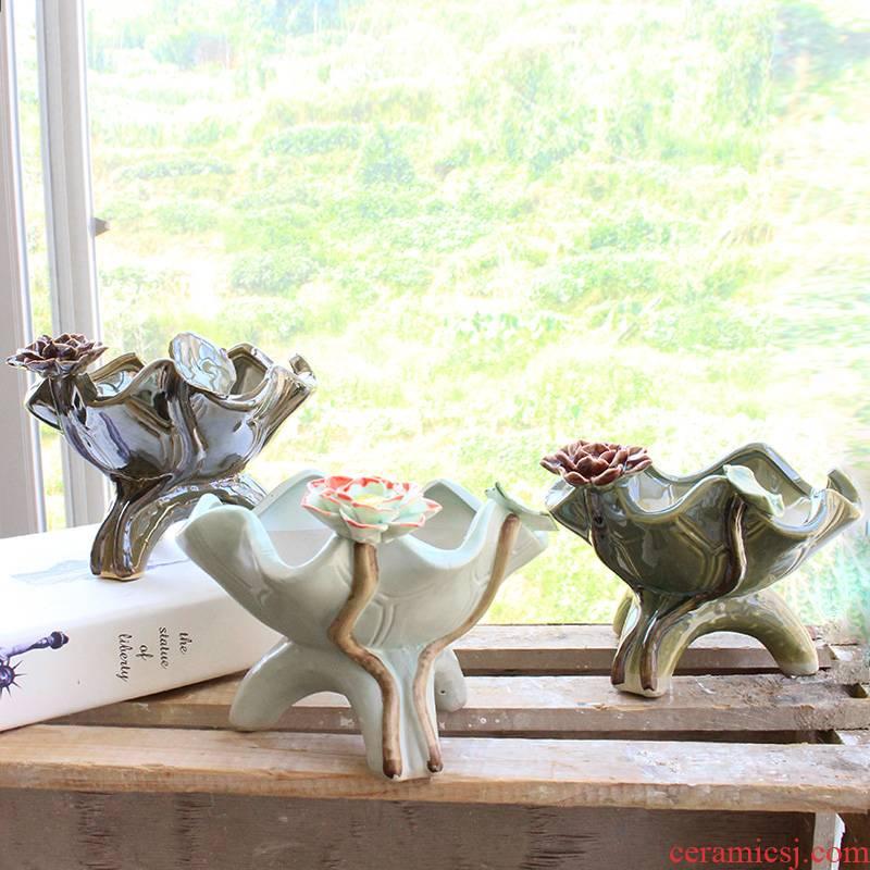 Chinese ceramic flowerpot more meat desktop type ceramic POTS creative three - dimensional green plant lotus leaf hand, flower POTS