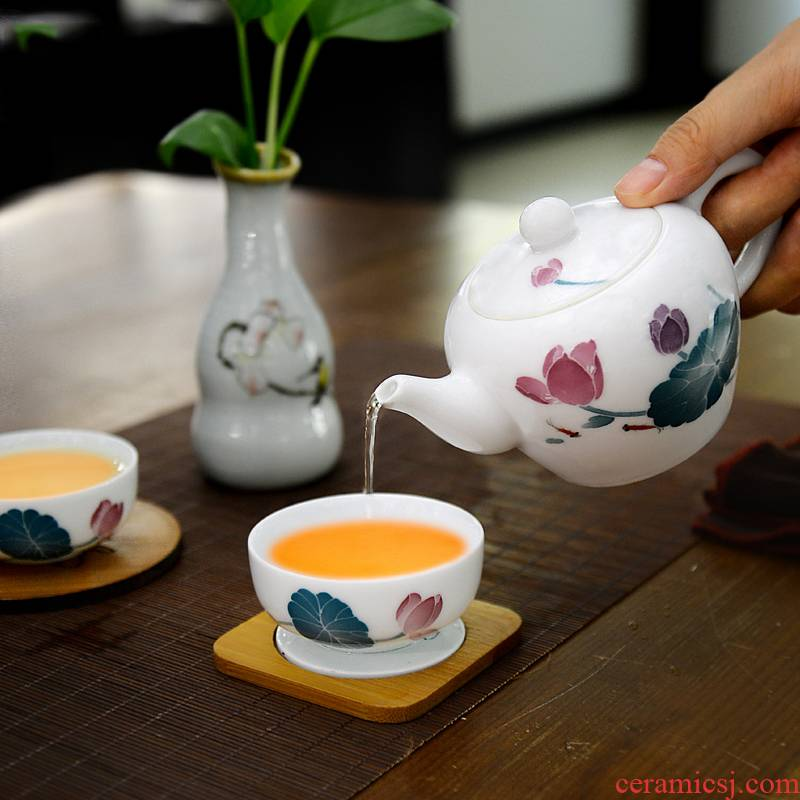 Liling porcelain kung fu tea set travel under the glaze of a complete set of colorful hand - drawn suit portable their a pot of four cups