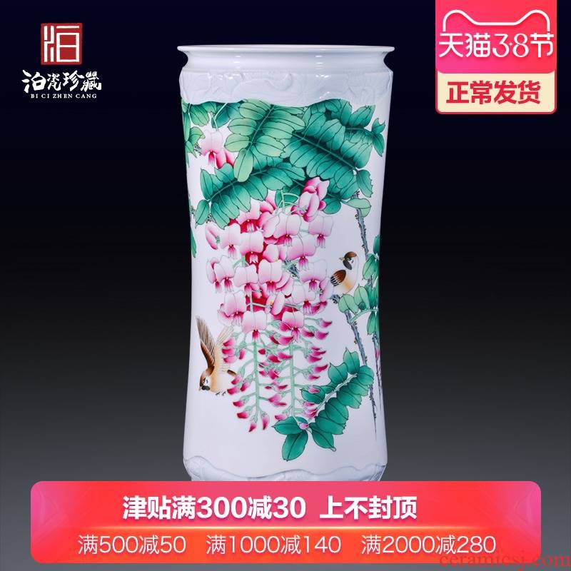 Jingdezhen ceramics hand - made powder enamel vase of large living room flower arranging new Chinese style household furnishing articles
