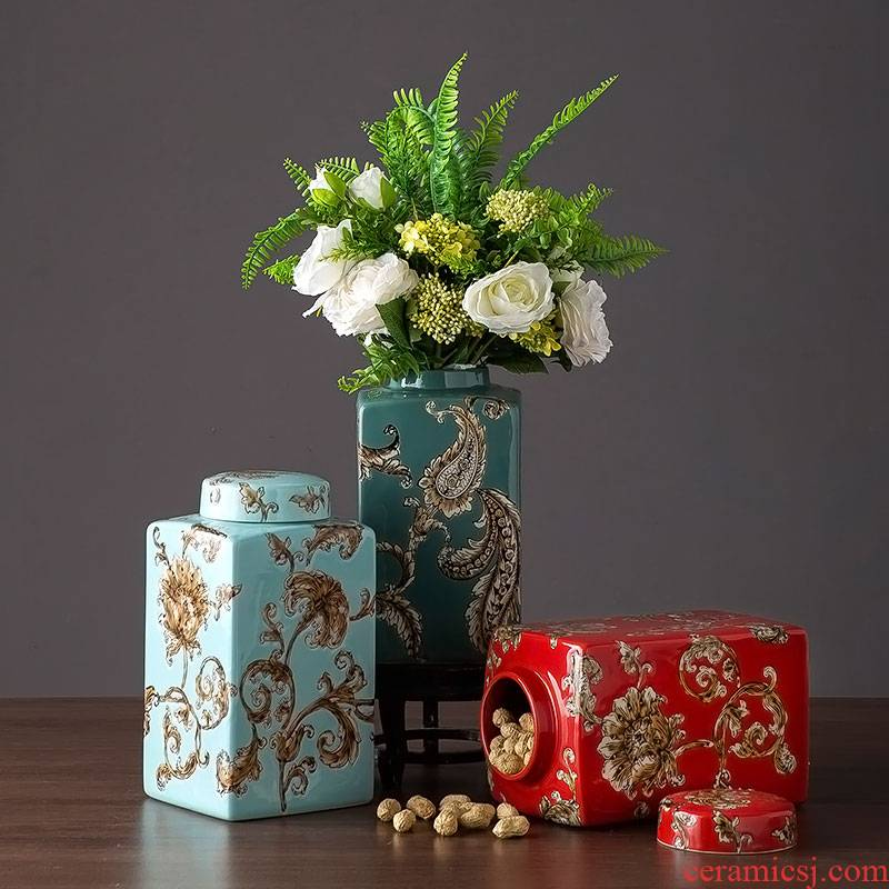 Jingdezhen ceramic storage jar of new Chinese style porch ark place to live in the sitting room TV ark, desktop ornaments