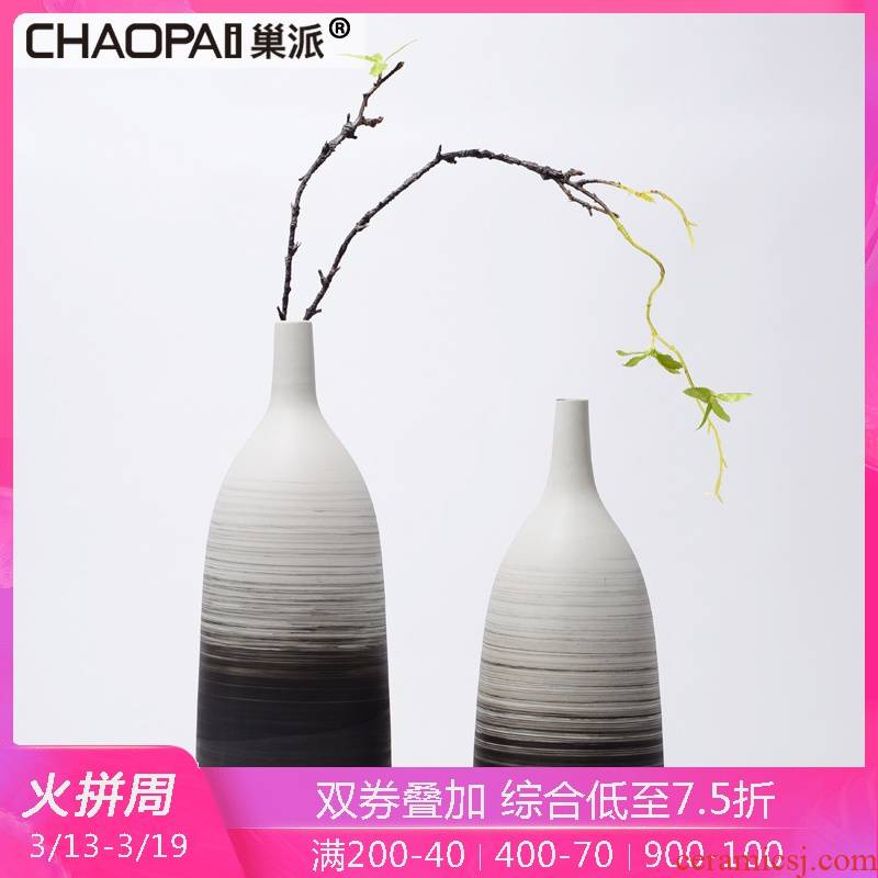 Nest sent modern new Chinese style style thread pattern ceramic vase furnishing articles example room living room table flower arrangement