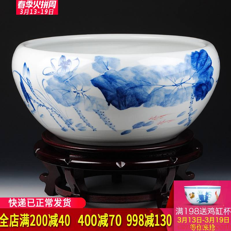 Blue and white shallow porcelain of jingdezhen ceramic goldfish bowl hand - made tortoise cylinder lotus lotus basin furnishing articles extra large