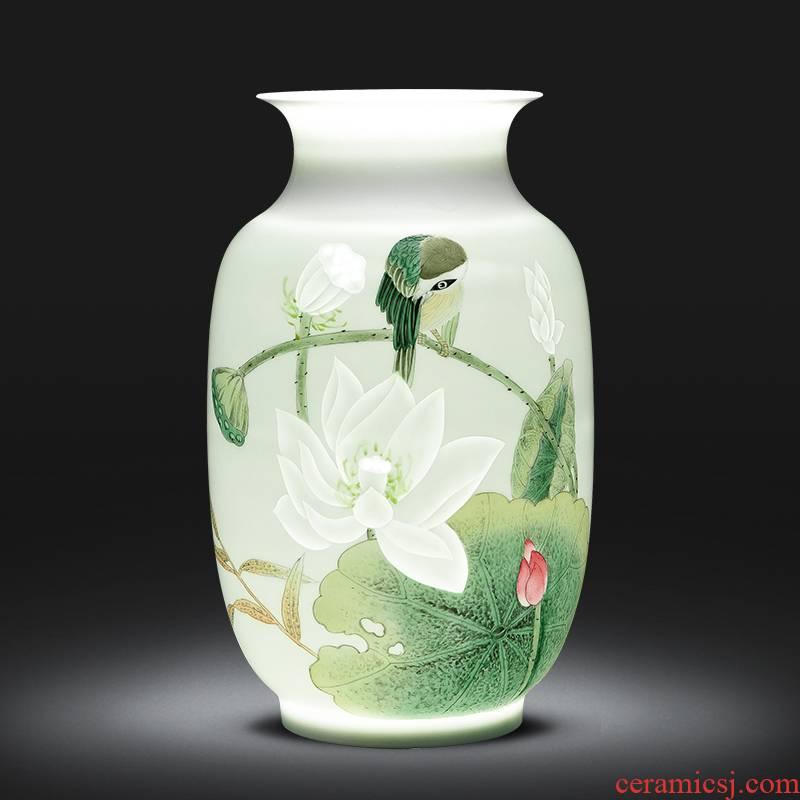 The Master of jingdezhen ceramic vase hand - made lotus famille rose porcelain sitting room TV ark, rich ancient frame study ornaments