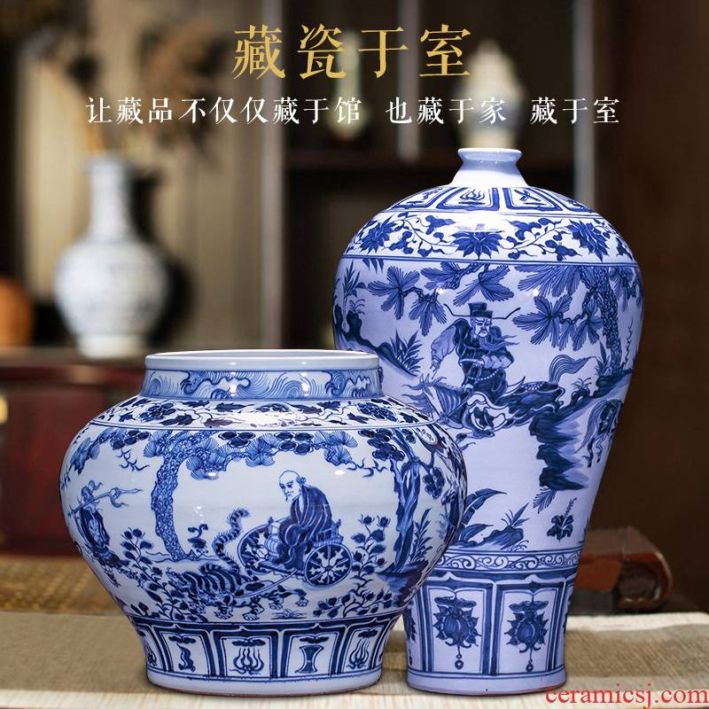 Jingdezhen ceramics archaize yuan blue and white porcelain vases, flower arranging, the sitting room porch decoration of Chinese style household furnishing articles