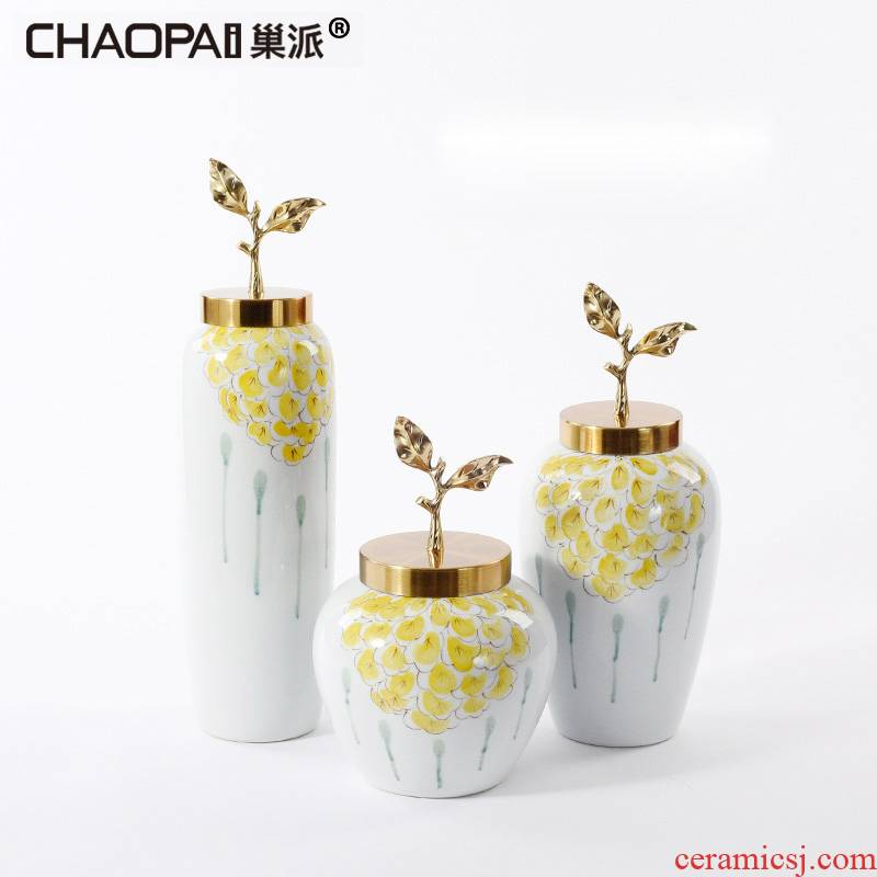 Creative flower arranging ceramic vase furnishing articles Europe type TV ark, sitting room porch soft adornment sample room storage tank