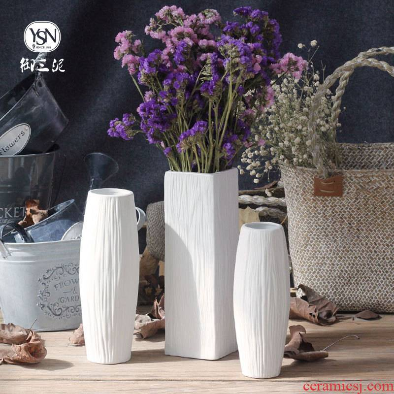 Coarse pottery dried flower decoration vase contracted and I the white flower arranging creative home sitting room ceramic furnishing articles