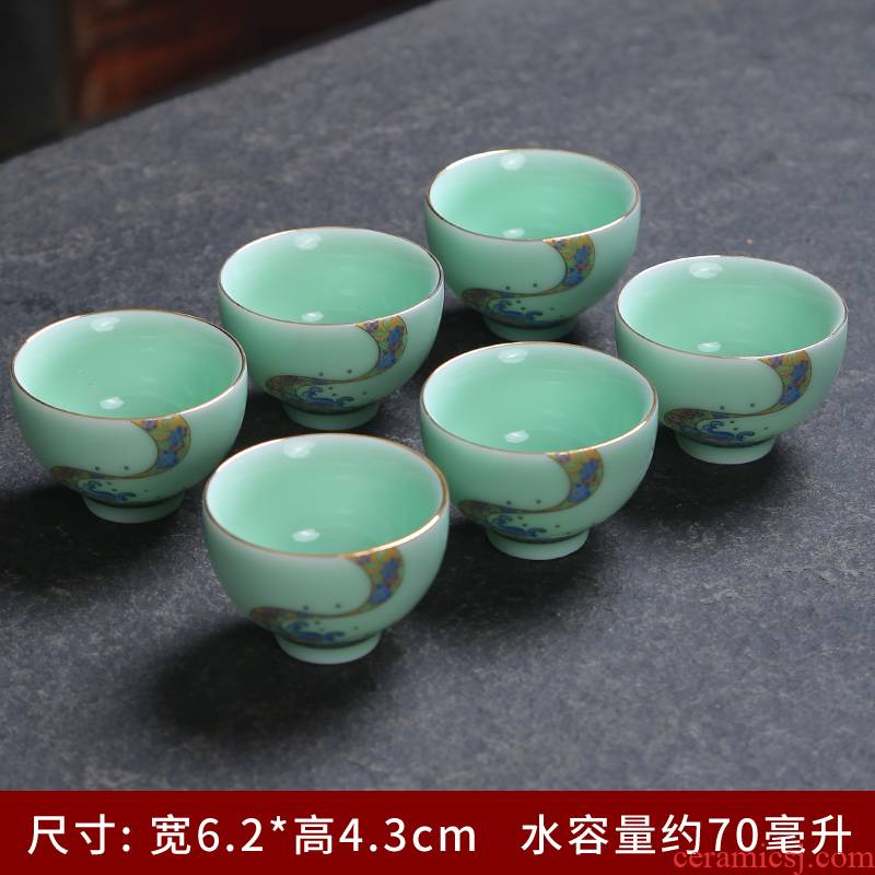 Household celadon kung fu tea set dry tea cups platter suit Japanese contracted small tea sets tea sea single ceramic cup