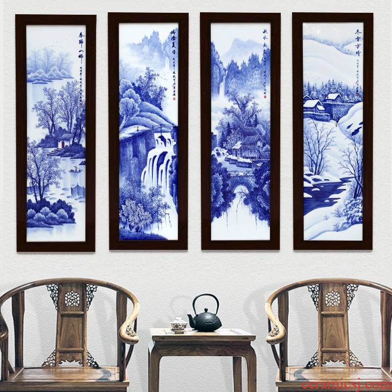 Jingdezhen blue and white living room sofa hand - made setting wall decoration painting Chinese porcelain plate painting porch hang mural metope