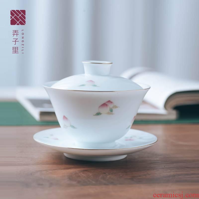 Made in jingdezhen ceramic kung fu tea tea bowl hand peach tureen three large bowl with white porcelain