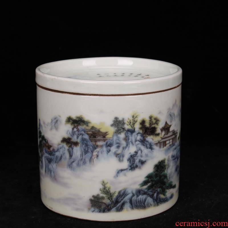 Jingdezhen blue and white landscape yongzheng bottom com.lowagie.text.paragraph tong qu wen lion play cricket playing pot cover archaize antique do old furnishing articles