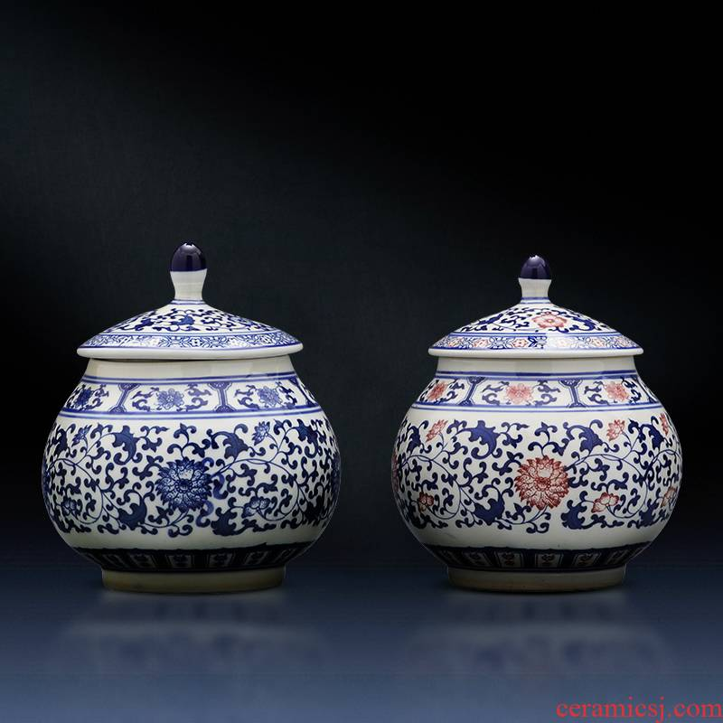 Jingdezhen ceramic pot seal storage tank with cover of blue and white porcelain tea pot pot home decor China traditional Chinese medicine