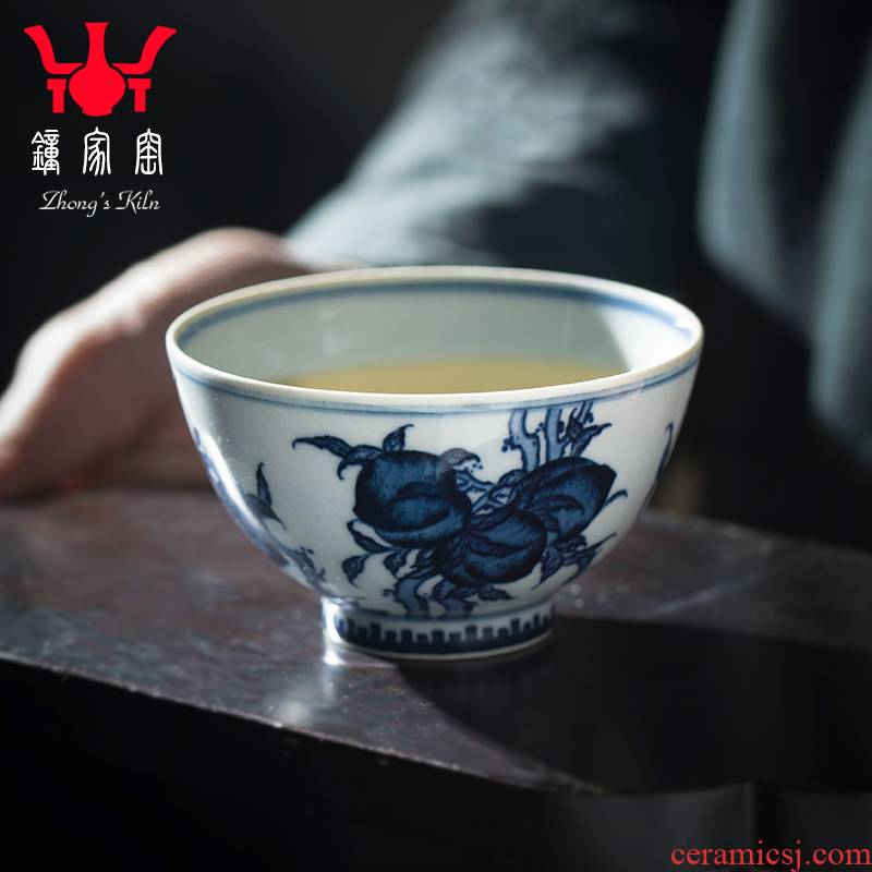 Clock home up with jingdezhen ceramic checking tea cups under glaze blue maintain hand - made peach masters cup tea cups