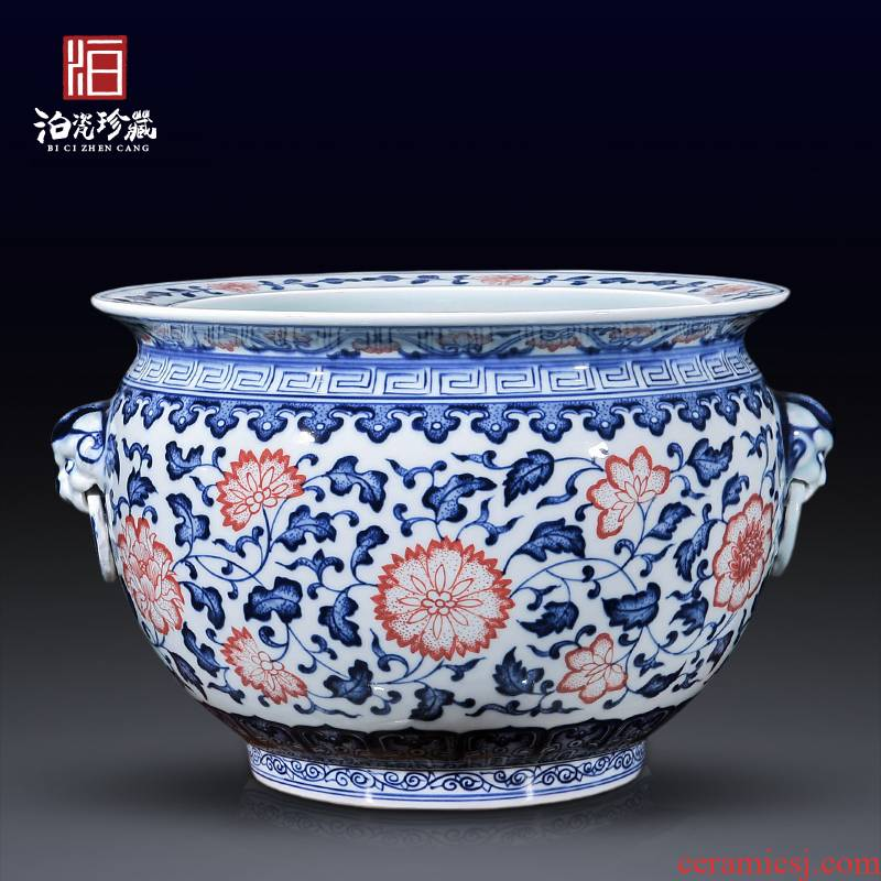 Jingdezhen ceramics cornucopia dragon cylinder writing brush washer water to wash the new Chinese style with the sitting room aquarium decorations furnishing articles