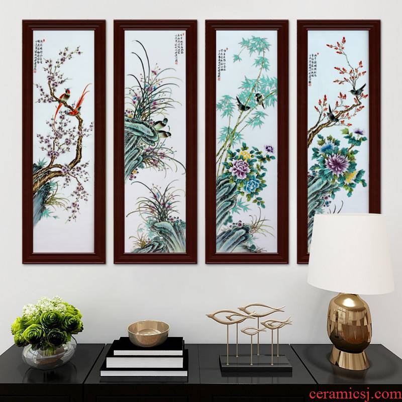 Jingdezhen ceramic famille rose porcelain plate painting the living room decoration by patterns porch study background wall mural that hang a picture