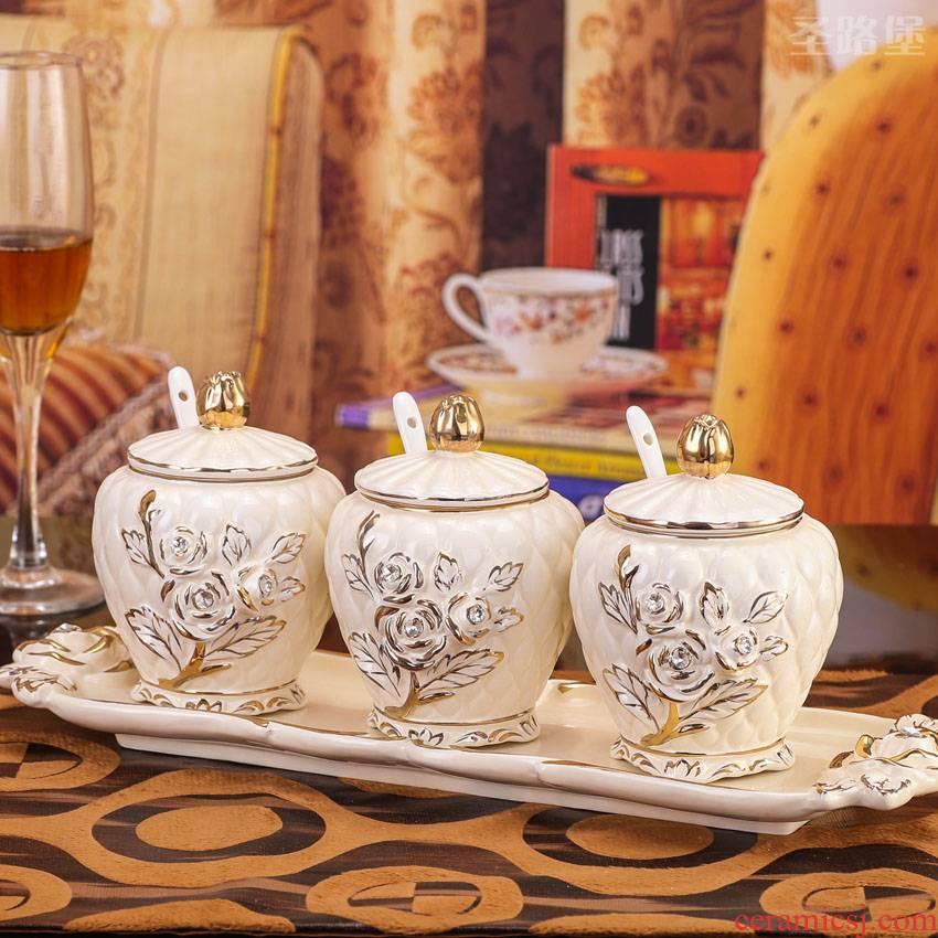 SAN road fort European ceramic seasoning, cooking pot seasoning jar ceramic kitchen furnishing articles creative gift set