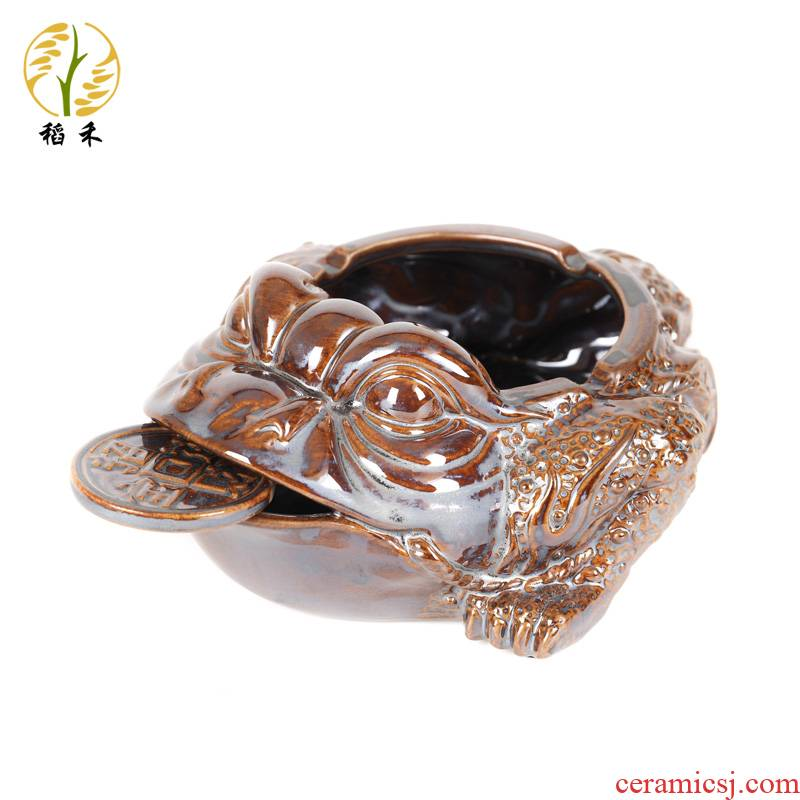 Creative ceramic ashtray spittor home furnishing articles toad move trend office Chinese wind