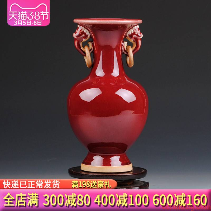 Archaize jun porcelain of jingdezhen ceramics ruby red ears floret bottle of the sitting room of Chinese style rich ancient frame TV ark, furnishing articles