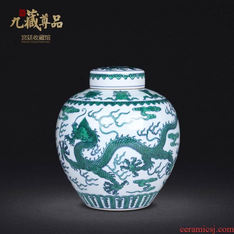 Jingdezhen ceramics manual hand - made porcelain dou dragon grain tea pot sitting room study home decoration furnishing articles