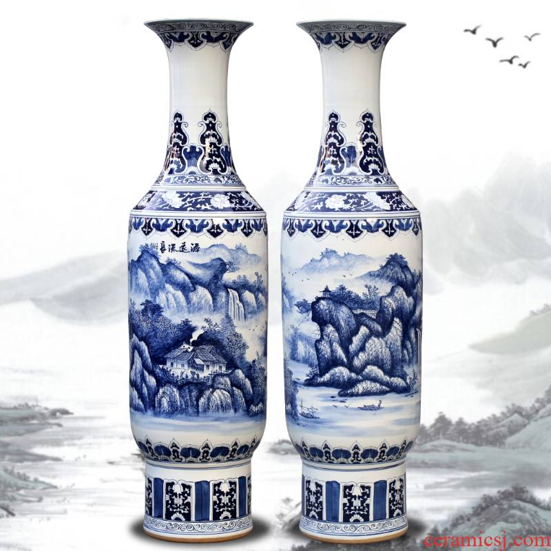 Blue and white porcelain of jingdezhen ceramics landscape painting big vase decoration to the hotel open living room floor office furnishing articles