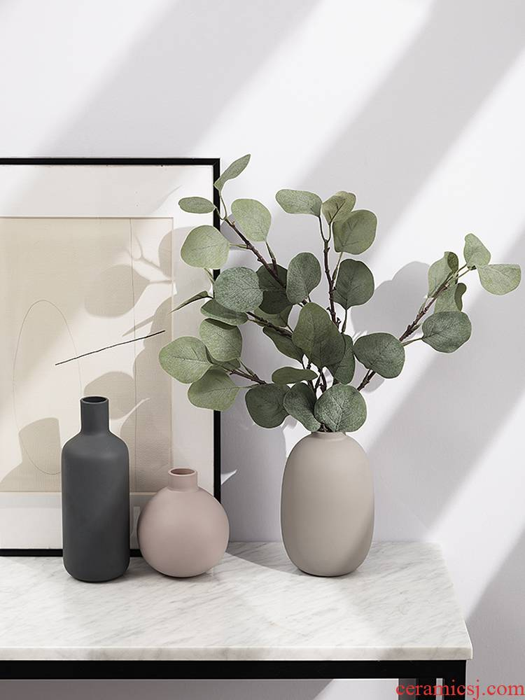Nordic morandi color glass ceramic vase furnishing articles sitting room home dried flower arranging flowers adornment ins wind flowers