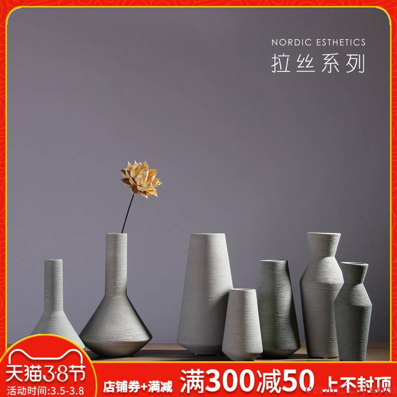 Nordic ceramic flower vases, European - style creative living room table dry flower, I and contracted home furnishing articles