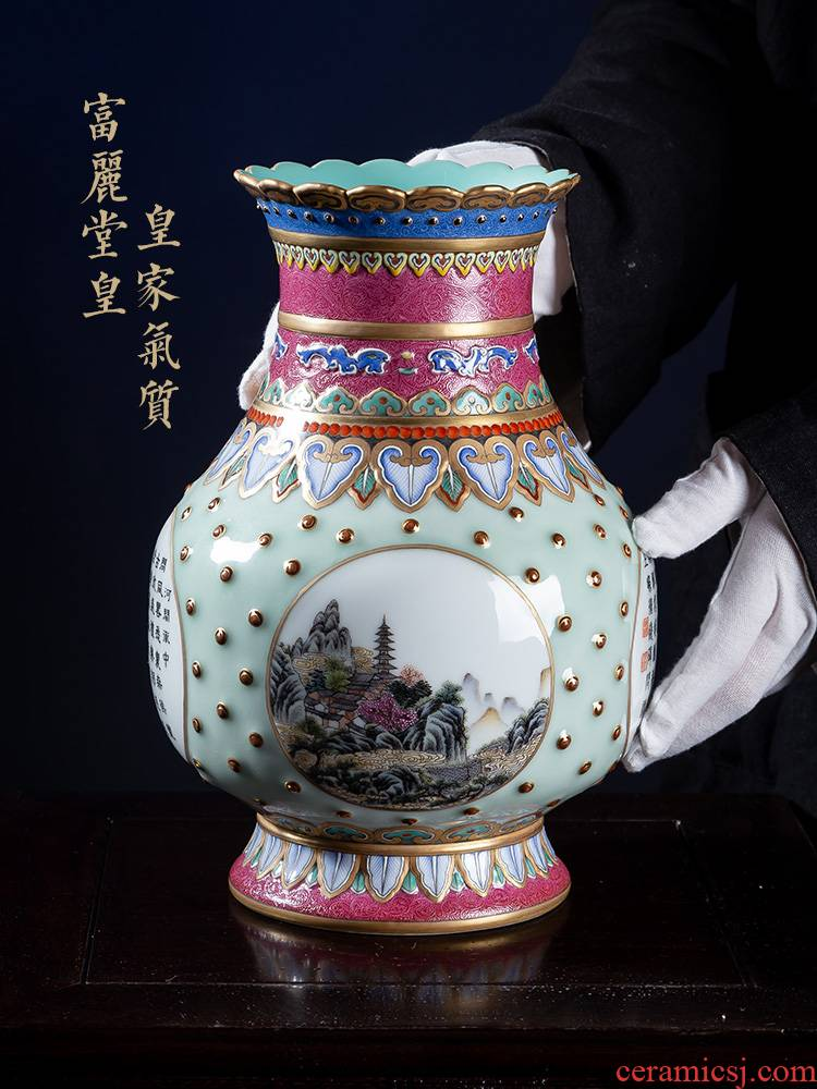 Jia lage jingdezhen ceramic vase YangShiQi qianlong pastel landscape poetry and name flower expressions using porcelain