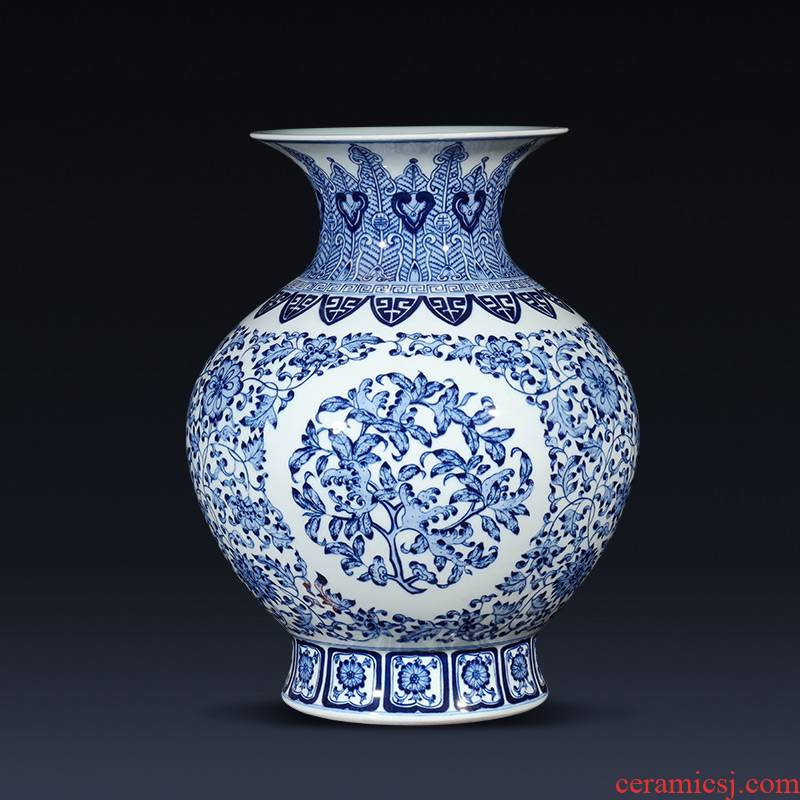 Jingdezhen ceramics imitation qianlong blue and white porcelain vases, flower arrangement of the sitting room porch decoration of the new Chinese style furnishing articles