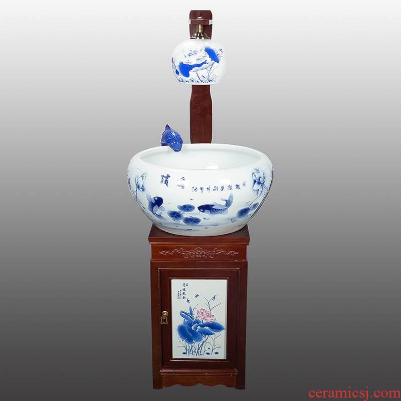 Heavy porcelain of jingdezhen ceramic aquarium size with lamp humidifying water tank water fountain creative aquarium decorations