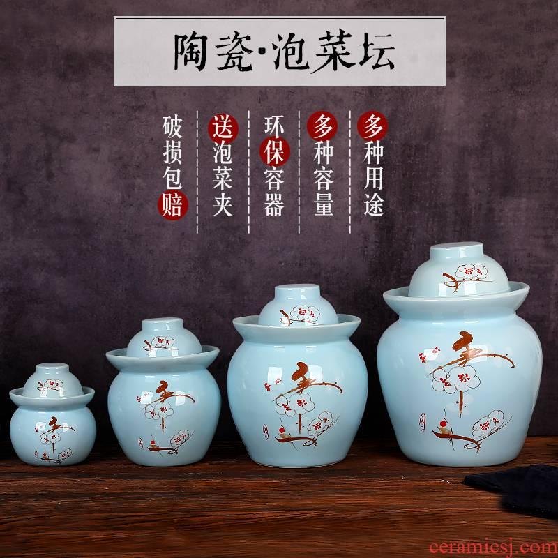 Jingdezhen ceramic sichuan pickles meat and dense eggs pickle jar cylinder storage water sealed jar jar airtight green food places