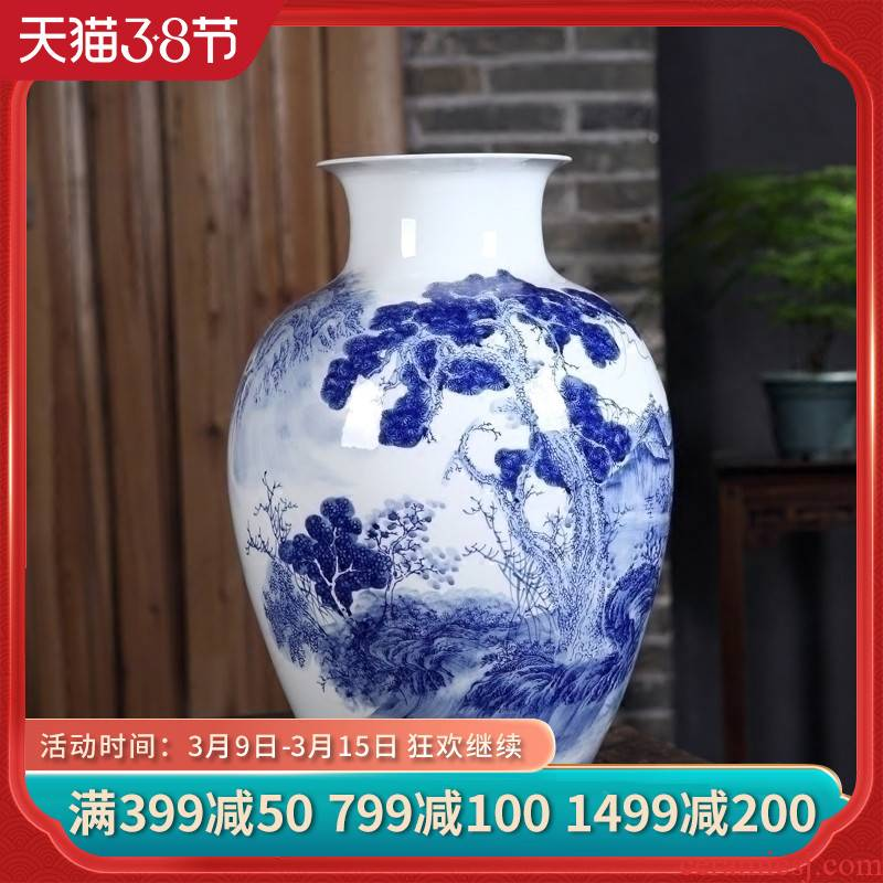 Jingdezhen ceramics hand blue and white porcelain vase furnishing articles and large new Chinese style home sitting room adornment