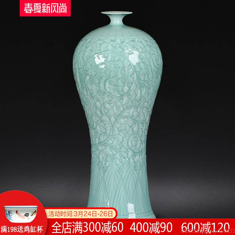 Jingdezhen ceramic vase furnishing articles sitting room flower arranging manual green glaze porcelain antique Chinese style household adornment reliefs