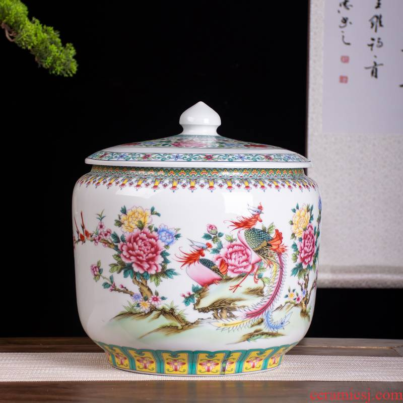 Jingdezhen ceramic barrel storage bins, informs 20 jins of 25 kg pack with cover seal storage tank is moistureproof insect - resistant ricer box