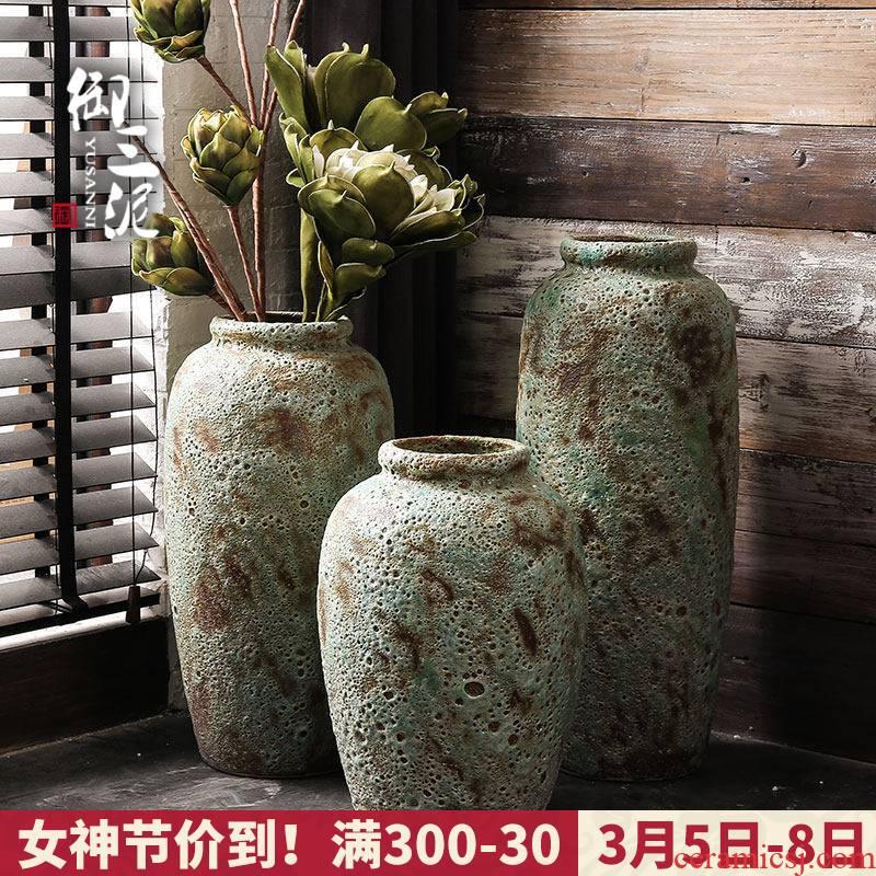 Jingdezhen imperial three mud manual coarse some ceramic jar jar flower implement ground vase earthenware do old archaize large flower pot
