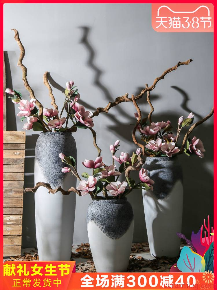 Jingdezhen ceramic vase landing high style restoring ancient ways coarse pottery decoration villa hotel adornment is placed between example flower arrangement