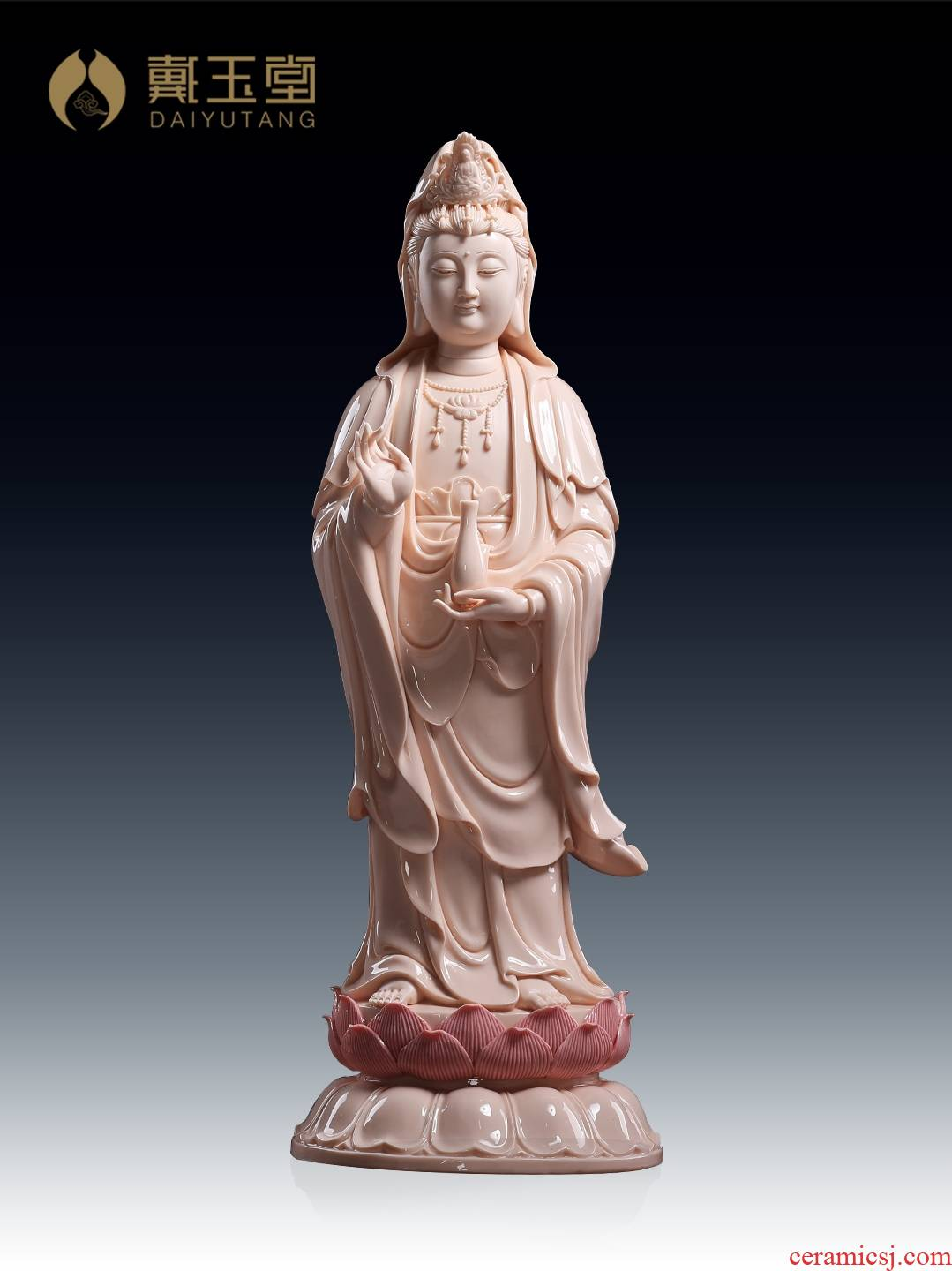 Yutang dai sound bodhisattva guanyin Buddha enshrined household ceramics furnishing articles 18 inches GuLian guanyin