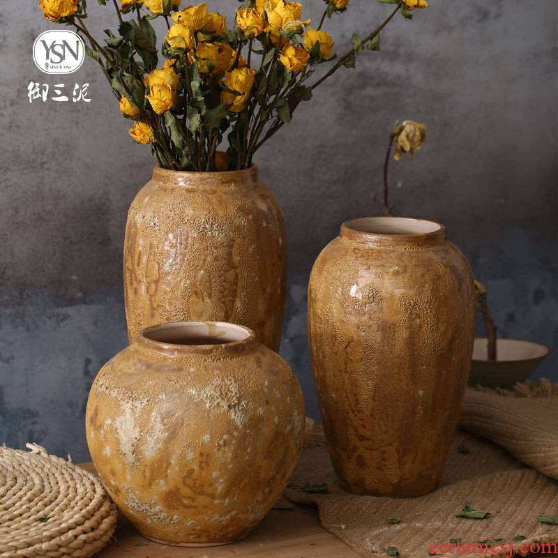 I and contracted dry flower vase Japanese manual white thick flower implement earthenware pottery jar do old archaize flowerpot