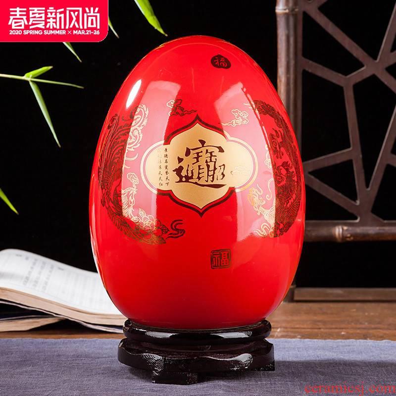 Jingdezhen ceramics vase of I and contracted home sitting room handicraft wine creative egg ornament furnishing articles