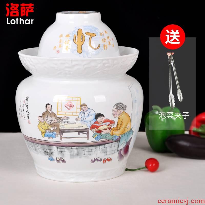Jingdezhen ceramic high white pickle jars pickle jar sealed storage tank cover altar altar sichuan pickles pickled egg cylinder double