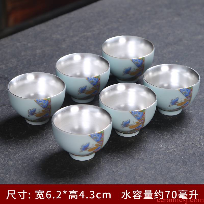 Silver cup coppering. As 999 colored enamel porcelain ceramic sample tea cup master cup personal single CPU hat to a cup of tea light