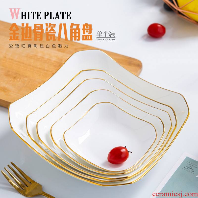 Jingdezhen ceramic dishes taste Chinese style dish of creative household Jin Bianpan plate ipads porcelain tableware anise deep soup plate