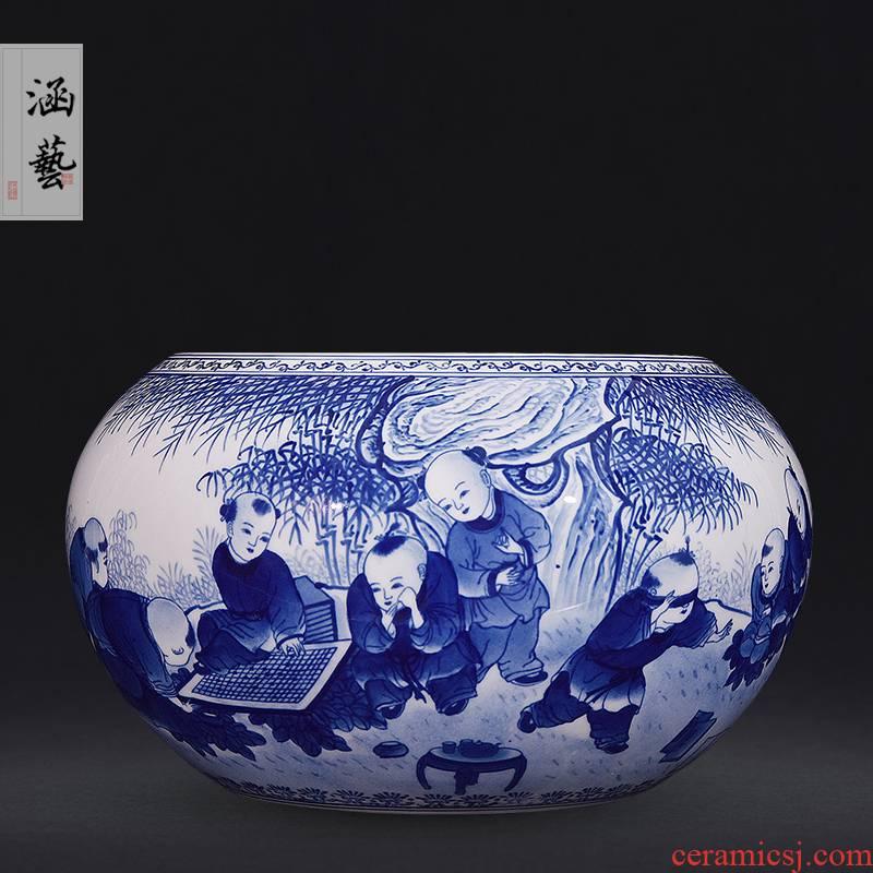 Hand - made porcelain of jingdezhen ceramics play boy aquarium fish sitting room adornment handicraft furnishing articles of the new Chinese style
