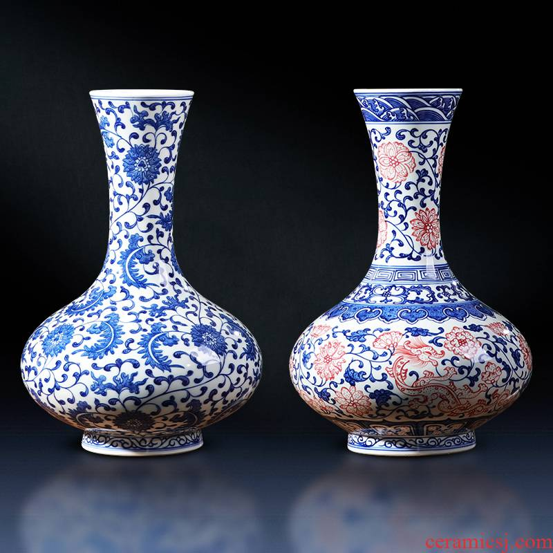 Jingdezhen ceramics vase archaize manual hand - made of blue and white porcelain bottle Chinese style living room home furnishing articles