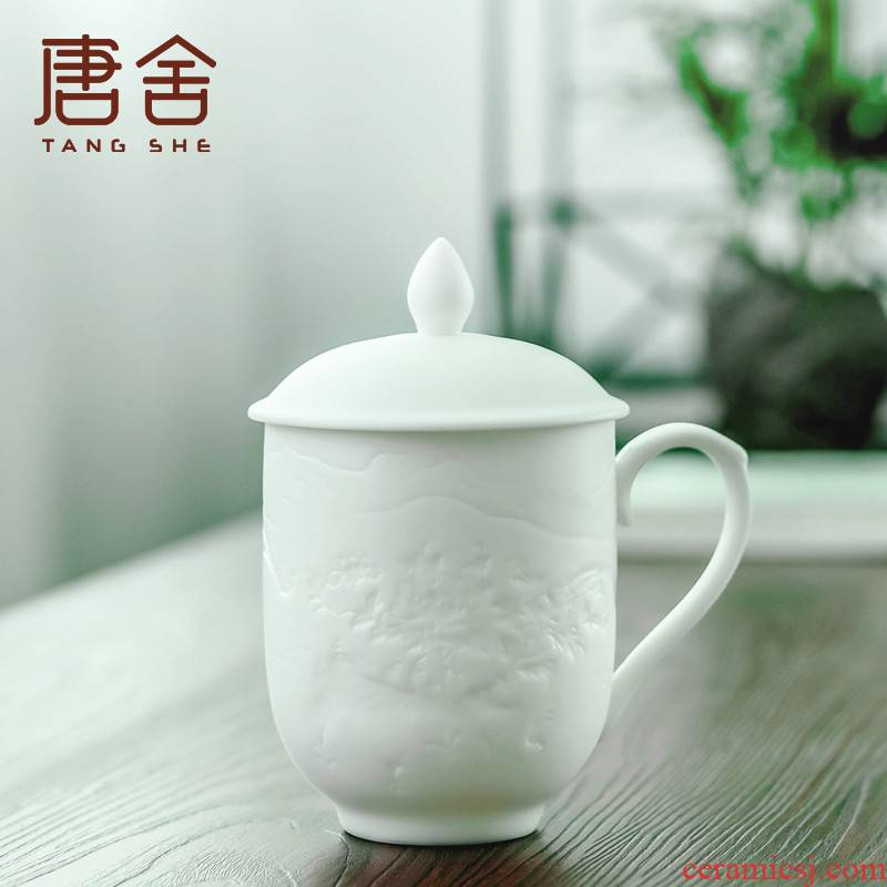 Don difference up manual peony ceramic cups dehua white porcelain keller with cover glass office cup led President 's home